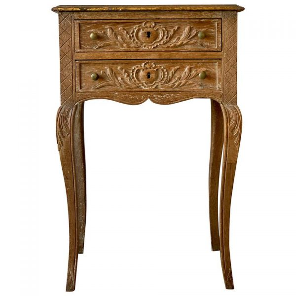 19th Century French Carved and Limed Oak Side Table