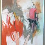 Large Abstract Painting in Oranges, Pinks and Grays