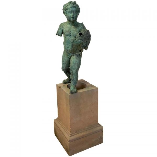 Late 19th Century Cast Bronze Cherub on Plinth