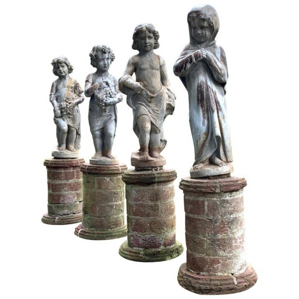 Set of Four Lead Garden Statues Depicting the Four Seasons