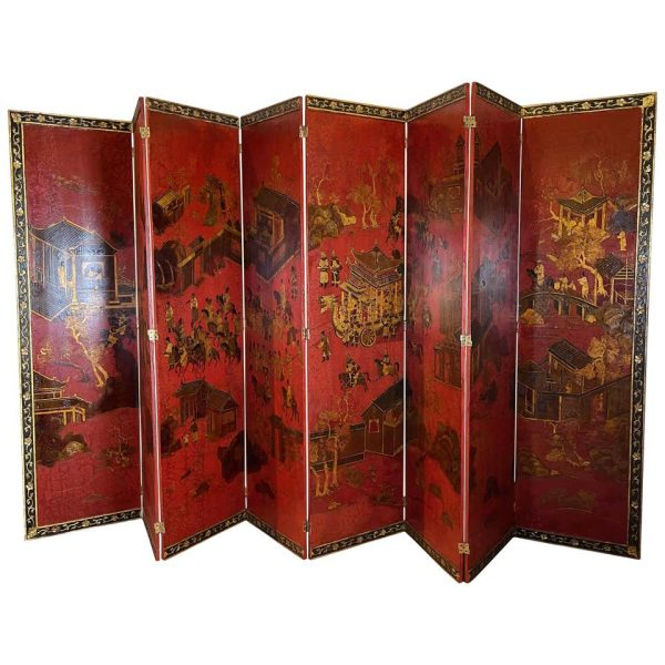Large Eight Panel Chinese Red Lacquer Screen