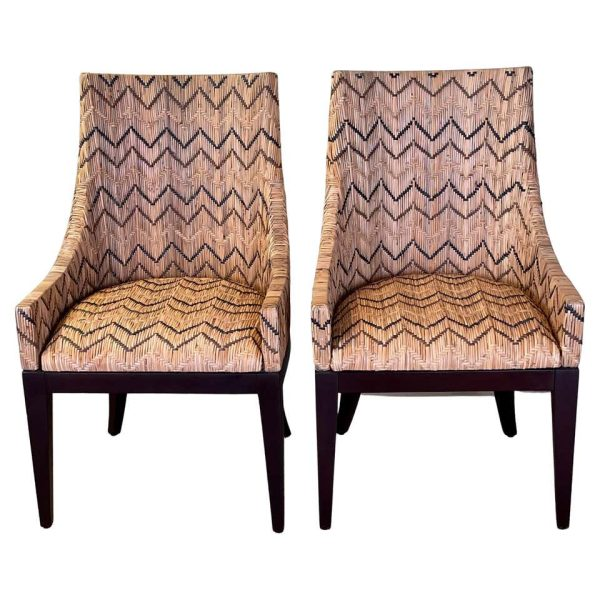 Pair of Woven Reed Side Chairs