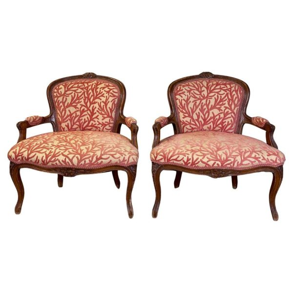 Pair of Low Slung French Fauteuils