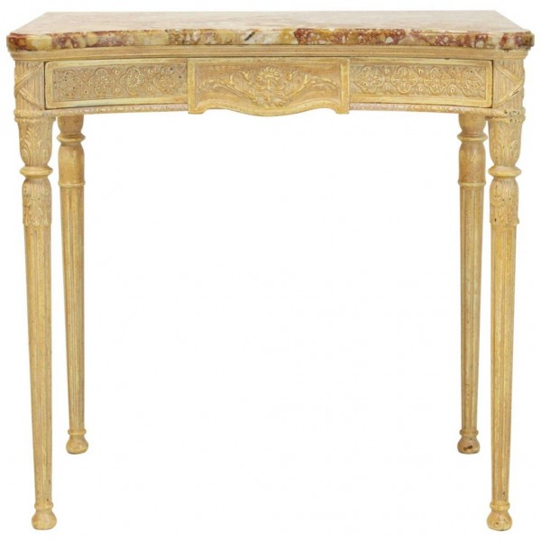 Late 20th Century Louis XVI Style Marble-Top Console Table