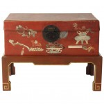 Hand-Painted Chinese Trunk on Stand