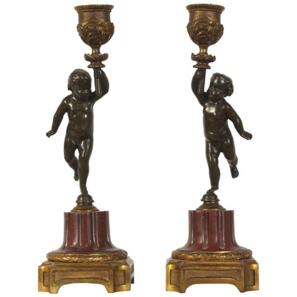 Pair of French Late 19th Century Putti or Cherub Candlesticks