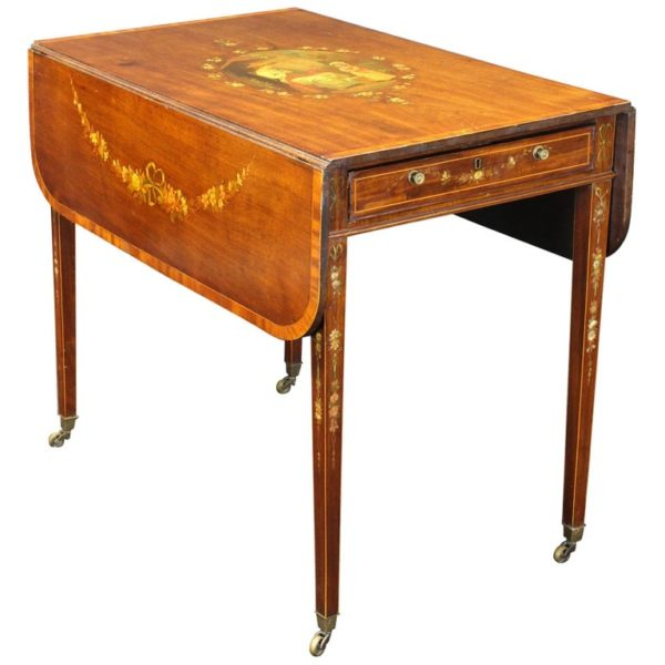 George III Mahogany Paint Decorated Pembroke Table