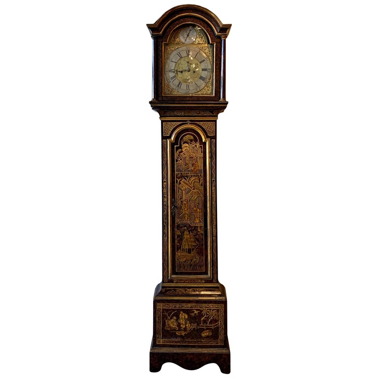 Mid-18th Century English Chinoiserie Decorated Tall Case Clock