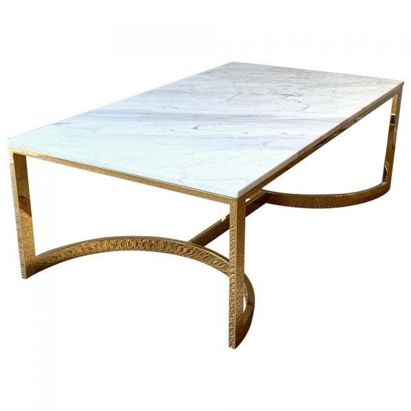 Large Brass and Marble Cocktail Table