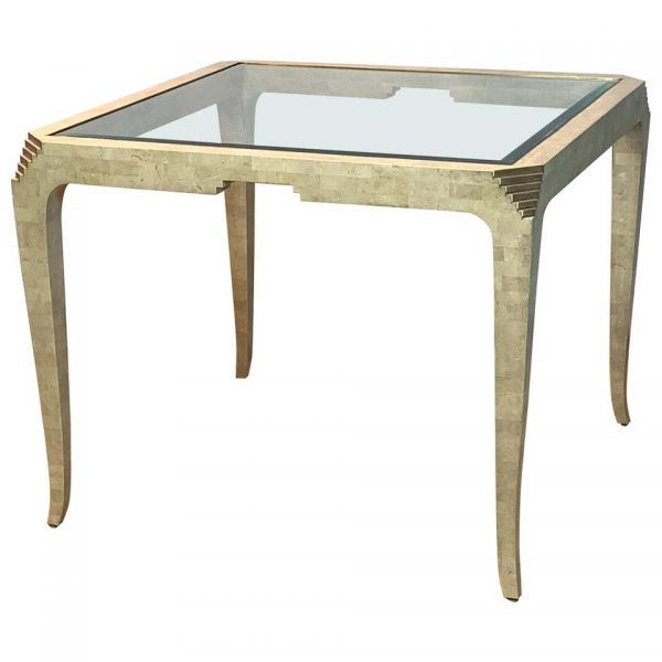 Tessellated Coral Stone and Brass Games Table