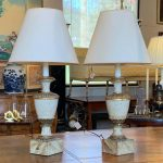 Pair of 19th Century Italian Wood Urn Shaped Table Lamps