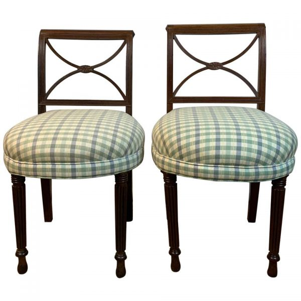 Near Pair of American Mahogany Side Chairs