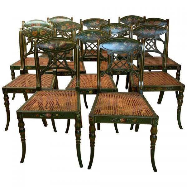 Set of 22 Paint Decorated Regency Style Dining Chairs