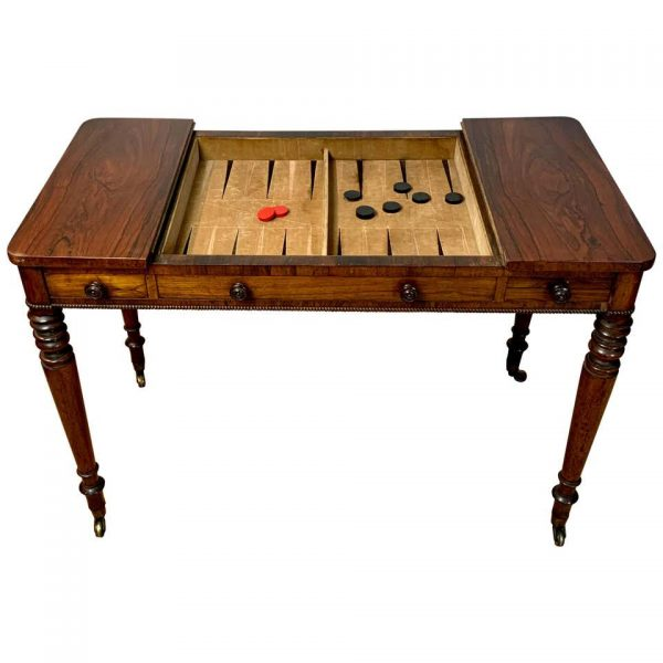 English William IV Games or Tric Trac Table