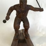 Early 20th Century Carved Wooden Statue of a Skier