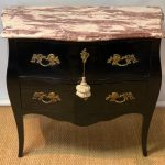 Late 20th Century Black Lacquer Bombe´ Commode