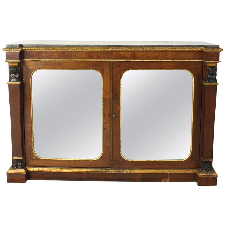 English Regency Mirror Front Cabinet